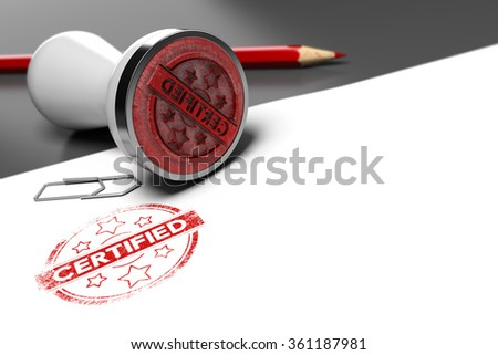 Rubber stamp over grey and white background with the text certified printed on it. Concept image for illustration of certification or guarantee certificate.