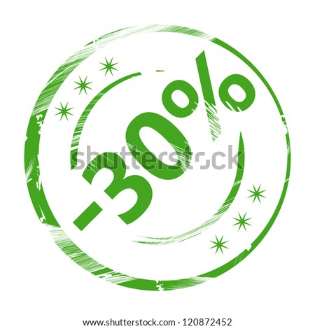 Rubber stamp - 30 percent discount isolated on white background