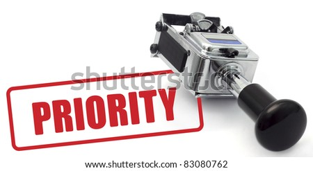 Rubber Stamp PRIORITY concept on a white background.
