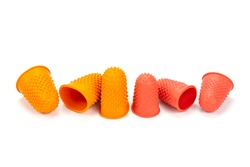 Rubber thimble or finger grips for protects fingers from soreness, sewing, cactus cultivation job, paper cuts and broken nails isolated on white background