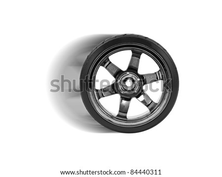 Rubber tyres with sports rims on a white background