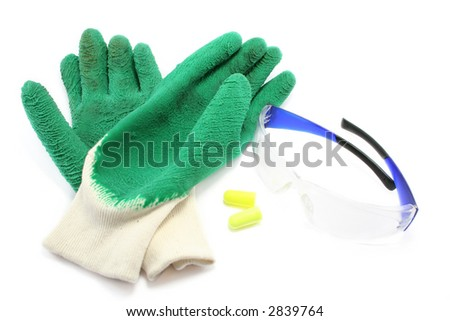 rubberised gloves, earplugs and safety glasses. Colourful and sensible