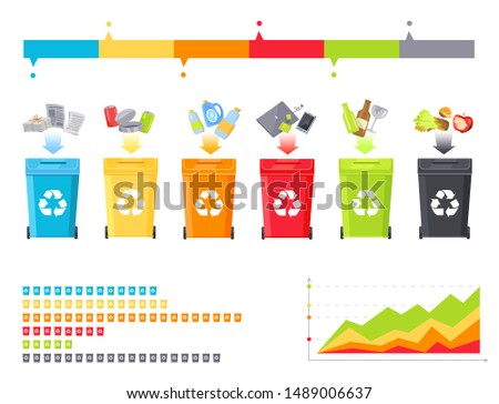 Rubbish sorting process and statistical diagram raster illustration set of colorful garbage buckets waste recycling statistic various trash icons