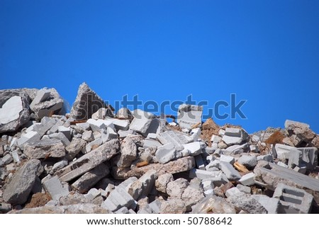 Rubble From A Demolished Building