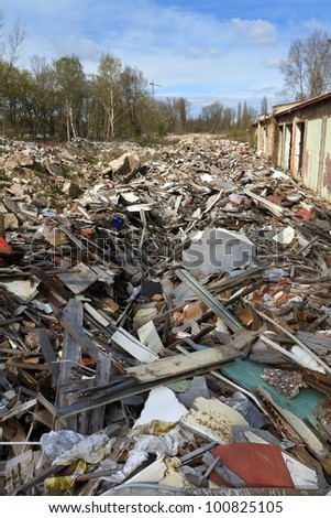 rubble in an abandoned industrial complex