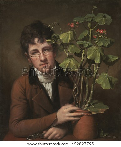 Rubens Peale with a Geranium, by Rembrandt Peale, 1801, American painting, oil on canvas. 23 year old artist Rembrandt Peale painted his botanist brother, 17 year old Rubens. Their father, famous art