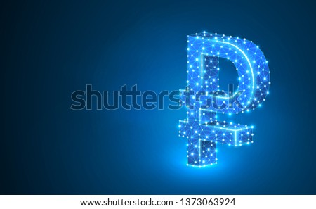 Ruble currency sign, digital neon 3d illustration. Polygonal Raster Russian money symbol. Business, data cash, finance concept. Low poly wireframe, triangle, lines, dots, polygons. Blue background