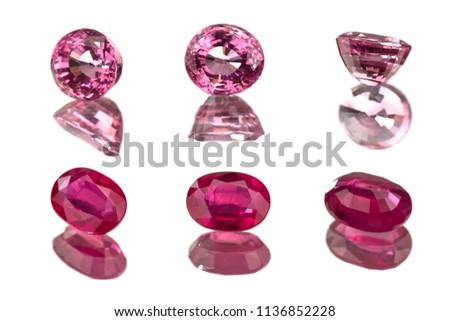 Ruby and pink spinel,gemstone,sapphire,isolated on white background