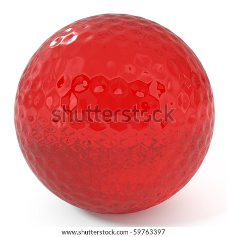 Ruby Golf Ball isolated on white - 3d illustration