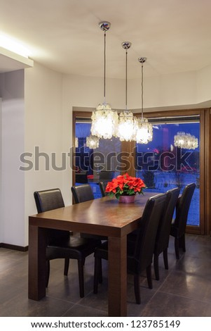 Ruby house - Wooden table in dining room, modern interior
