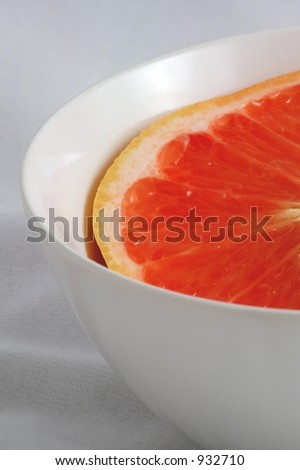 Ruby Red Grapefruit Half in a White Bowl
