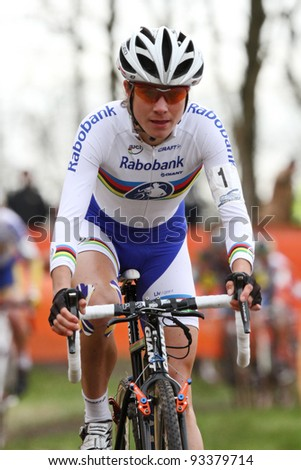 RUCPHEN, NB NETHERLANDS - JANUARY 21: Marianne Vos competes at the Cyclocross GP Skidome, January 21 2012 in Rucphen, NB The Netherlands