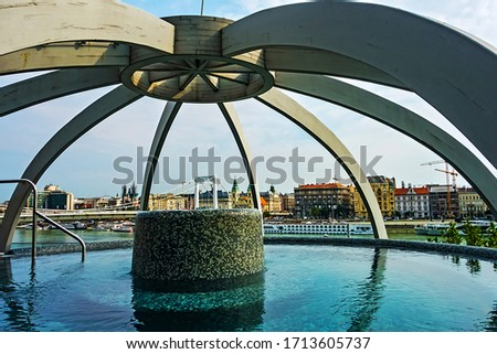 Photo of  Rudas Rooftop thermal pool Medicinal Thermal Baths, hot tub spa by swimming pool, Budapest, Hungary.