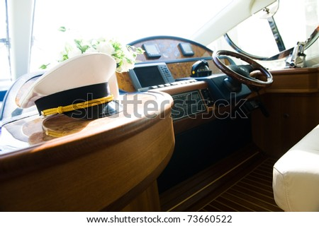 Rudder, compass and captain's hat on yacht