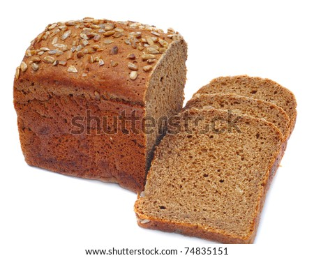 ruddy loaf of bread, isolated on white background