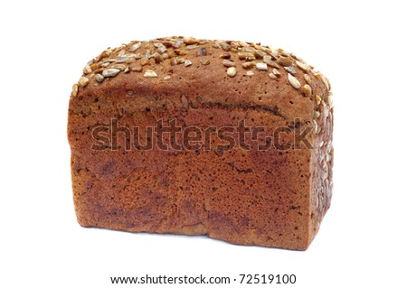 ruddy long loaf of bread with sunflower seeds, isolated on white background