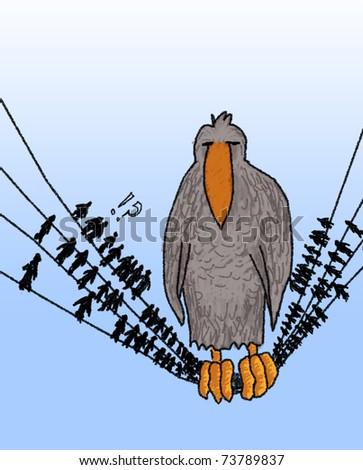 Rude bird on a wire