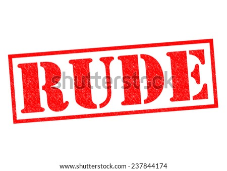 RUDE red Rubber Stamp over a white background. Foto d'archivio ©