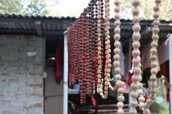 Rudraksha mala, used as a prayer bead in Hinduism, made with seeds of Elaeocarpus ganitrus