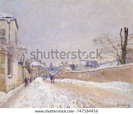Rue Eugene Moussoir at Moret: Winter, by Alfred Sisley, 1891, French impressionist oil painting. Sisley painted this snow covered landscape with subtle palette of warm and cool colors