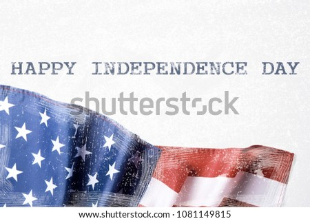Ruffled grunged American flag on white background, vintage filter. United States of America stars & stripes symbol with copy spase for text. 4th of july Independence day concept. Background, close up #1081149815