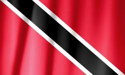 Ruffled waving Trinidad and Tobago flag