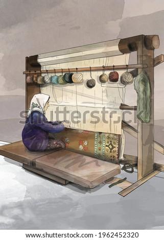rug weave loom, carpet weaver turkish woman, illustration Stok fotoğraf ©