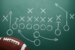 Rugby ball and drawn American football strategy game on green chalkboard, top view