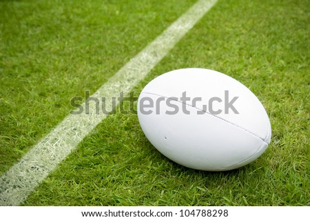 rugby ball near try line on rugby pitch with copy space #104788298