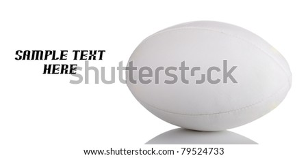 Rugby ball on white with copy space
