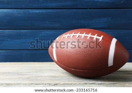 Rugby ball on wooden background #233165716