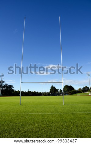 Rugby field and goalposts