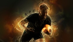 Rugby football player holds ball. Sports banner. Dark background