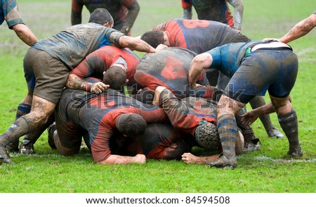 rugby melee scrum