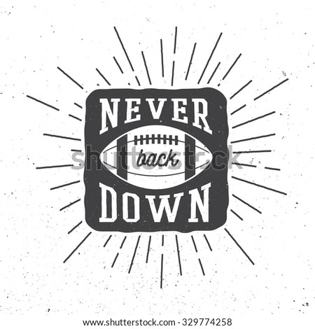 Rugby or american football ball with typography. Illustration