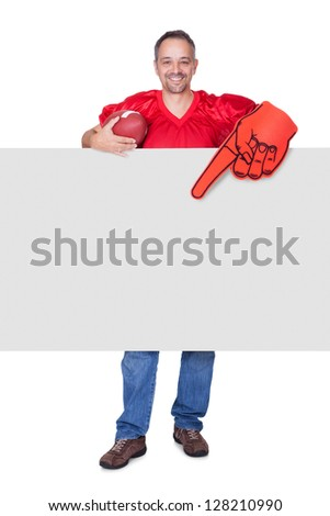 Rugby Player Holding Rugby Ball And Placard On White Background