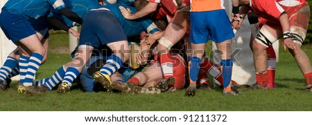 rugby teams  scrum in panoramic view