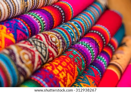 Rugged andean textile and fabrics.