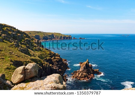 rugged coastline cornwall #1350379787