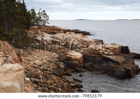 Rugged Coastline. Ship Harbor trail in Acadia National Park, Maine, United States. - stock photo
