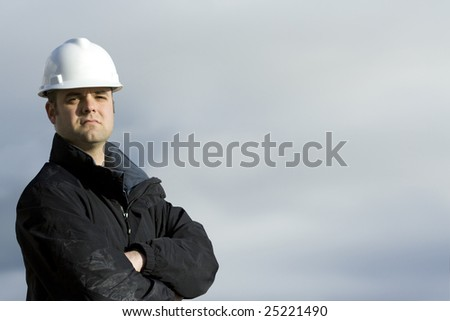 Rugged Construction Worker - stock photo