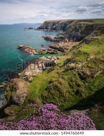 Rugged Cornwall coastline in UK