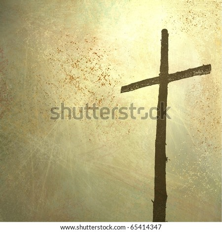 rugged cross on faded yellowed light grunge background with copy space