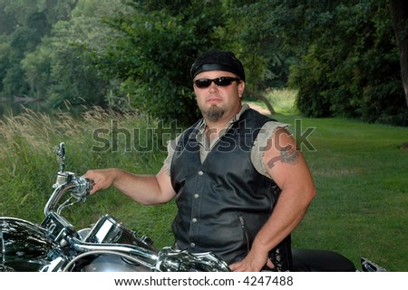 rugged man on a motorcycle