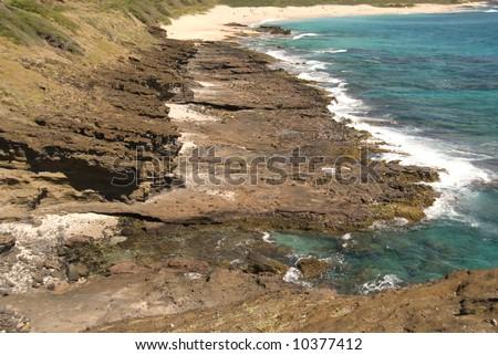 Rugged Pacific Ocean coastline in Makaha, Oahu, Hawaii Foto stock ©