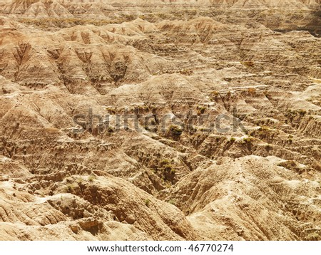 Rugged terrain in Badlands National Park, South Dakota. Horizontal shot.