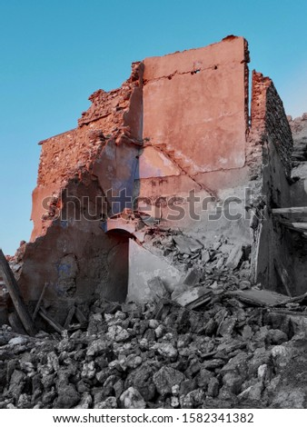 Ruin of abandoned house in the Spanish Civil War in Roden, an abandoned town near Zaragoza, Spain. Stock foto ©
