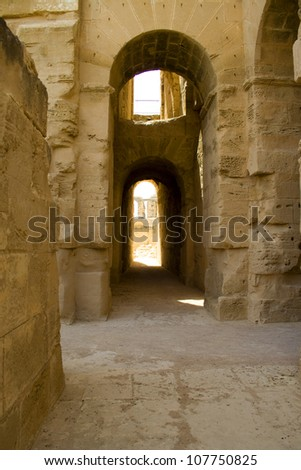 ruin of ancient amphitheater in El Jem