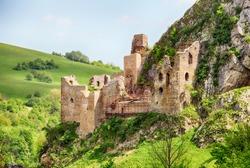 Ruin of castle Lednica, Slovakia spring landscape