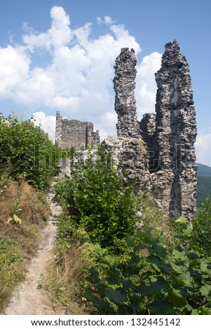 Ruin of castle Reviste, Slovakia, Central Europe.